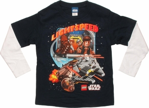 Star Wars Lego Falcon Flight Long Sleeve Juvenile T Shirt