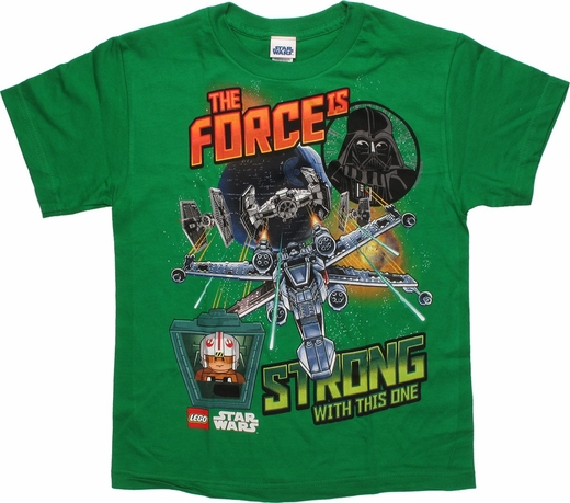 Star Wars Lego Force Strong Green Youth T Shirt