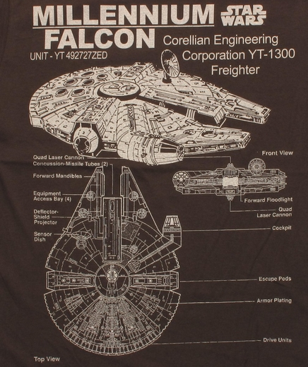 Star Wars Millennium Falcon Specs T Shirt Sheer