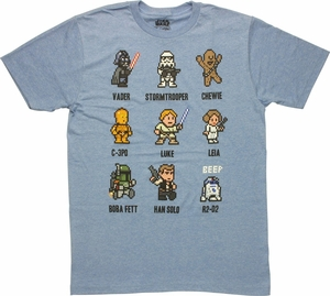 Star Wars Pixel Art Grid T Shirt