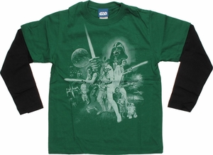 Star Wars White Poster Green Long Sleeve Juvenile T Shirt