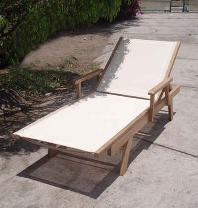 The Banten Collection Commercial Teak Sling Chaise Lounge