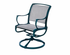 The Bessa Collection Commercial Cast Aluminum Sling Swivel Dining Chair