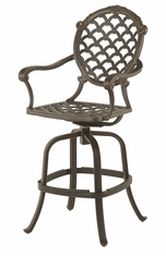 The Brevard Collection Commercial Cast Aluminum Swivel Bar Height Chair