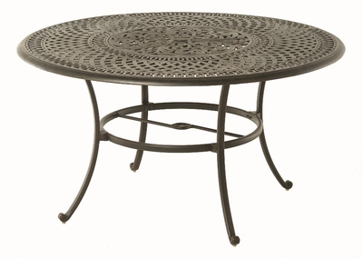 """The Boyton Collection Commercial Cast Aluminum 54"""" Round Dining Table With Inlaid Lazy Susan"""