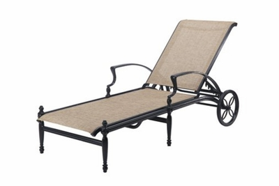 The Brielle Collection Commercial Cast Aluminum Sling Chaise Lounge
