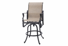 The Brielle Collection Commercial Cast Aluminum Sling Swivel Bar Height Chair