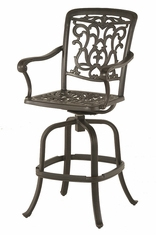 The Barbury Collection Commercial Cast Aluminum Swivel Bar Height Chair