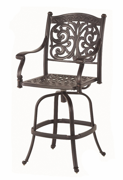 The Byanca Collection Commercial Cast Aluminum Swivel Bar Height Chair