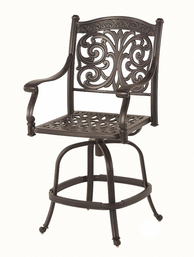 The Byanca Collection Commercial Cast Aluminum Swivel Counter Height Chair