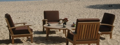 The Carriera Collection Commercial Teak Deep Seating Set