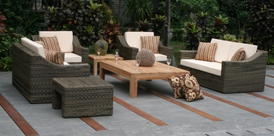 The Carvela Collection All Weather Wicker/Teak Patio Furniture Deep Seating Set