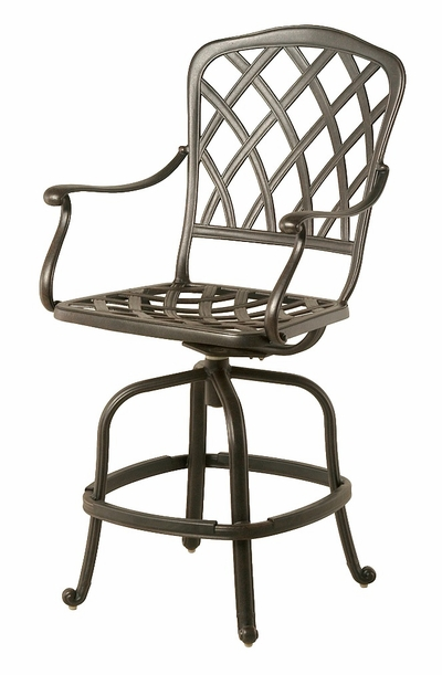 The Cason Collection Commercial Cast Aluminum Swivel Counter Height Chair