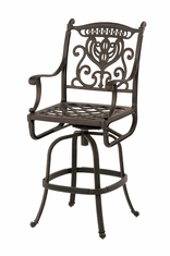 The Cayman Collection Commercial Cast Aluminum Swivel Bar Height Chair