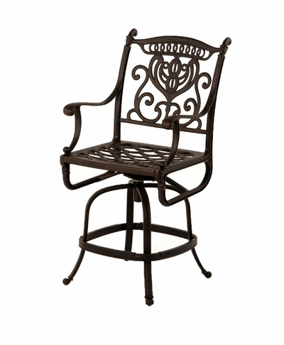 The Cayman Collection Commercial Cast Aluminum Swivel Counter Height Chair
