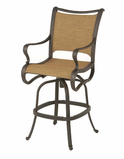 The Manhattan Collection Commercial Cast Aluminum Sling Swivel Bar Height Chair