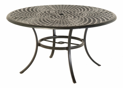 "The Columbia Collection Commercial Cast Aluminum 54"" Round Dining Table With Inlaid Lazy Susan"