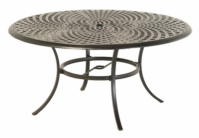 "The Columbia Collection Commercial Cast Aluminum 60"" Round Dining Table With Inlaid Lazy Susan"