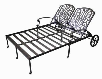 The Del Mar Collection Commercial Cast Aluminum Double Chaise Lounge