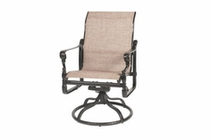The Floria Colleciton Commercial Cast Aluminum Sling Standard Back Swivel Dining Chair