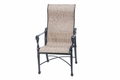 The Floria Collection Commercial Cast Aluminum Sling High Back Stationary Dining Chair