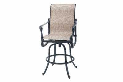 The Floria Collection Commercial Cast Aluminum Sling Swivel Bar Height Chair