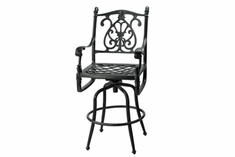 The Floria Collection Commercial Cast Aluminum Swivel Bar Height Chair