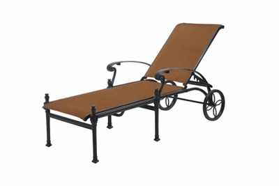 The Floria Collection Commercial Padded Sling Cast Aluminum Chaise Lounge