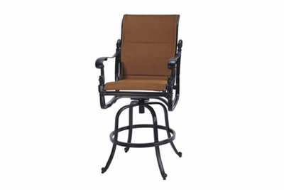 The Floria Collection Commercial Padded Sling Swivel Bar Height Chair