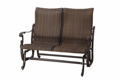 The Floria Collection Commercial Wicker High Back Loveseat Glider