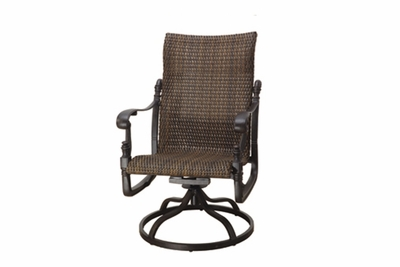 The Floria Collection Commercial Wicker Standard Back Swivel Dining Chair