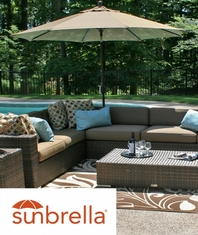 The Galtech Collection 9' Aluminum Pole Umbrella With Sunbrella Cocoa Canopy