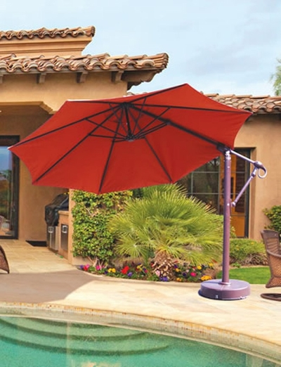 The Galtech Collection 11' Cantilever Offset Aluminum Patio Umbrella
