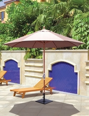 The Galtech Collection 11' Crank Lift Teak Market Patio Umbrella