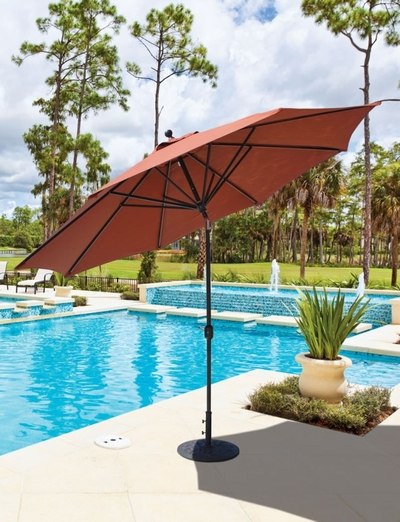 The Galtech Collection 11' Market Aluminum Deluxe Auto Tilt Patio Umbrella