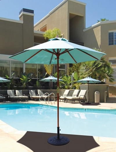 The Galtech Collection 7.5' Wood Market Round Cafe/Bistro Patio Umbrella