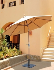 The Galtech Collection 9' Rotational Tilt Teak Market Patio Umbrella