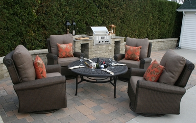 �The Giovanna Collection All Weather Wicker/Cast Aluminum Patio Furniture Deep Seating Lounge Set