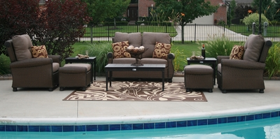 The Giovanna Collection All Weather Wicker/Cast Aluminum Patio Furniture Deep Seating Set With Loveseat