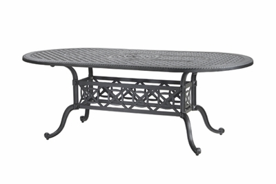 "The Grandville Collection Commercial Cast Aluminum 42"" x 86"" Oval Dining Table"