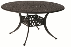 "The Harbor Collection Commercial Cast Aluminum 54"" Round Dining Table With Inlaid Lazy Susan"