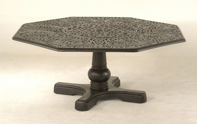 The Harbor Collection Commercial Cast Aluminum Hexagonal Dining Table With Inlaid Lazy Susan