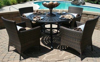 The Lantana Collection 4-Person All Weather Wicker/Cast Aluminum Patio Furniture Dining Set