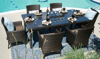�The Lantana Collection 7-Piece All Weather Wicker Patio Furniture Dining Set