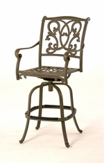 The Lavali Collection Commercial Cast Aluminum Swivel Bar Height Chair