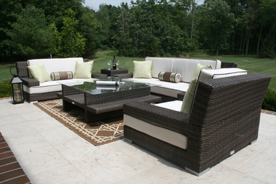 The Lepore Collection All Weather Wicker Patio Furniture Deep Seating Set