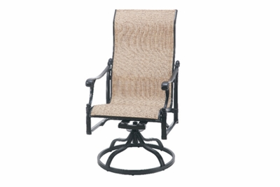 The Montego Collection Commercial Cast Aluminum Sling High Back Swivel Dining Chair