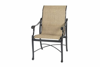 The Montego Collection Commercial Cast Aluminum Sling Standard Back Stationary Dining Chair