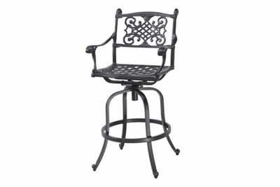 The Montego Collection Commercial Cast Aluminum Swivel Counter Height Chair