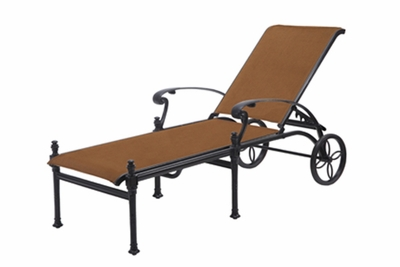 The Montego Collection Commercial Padded Sling Cast Aluminum Chaise Lounge